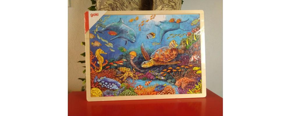 Puzzle de Madeira 96 Peças Animais do Mar