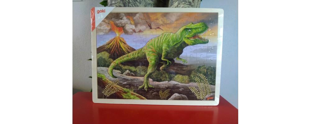 Puzzle de Madeira 96 Peças T-rex e Vulcão