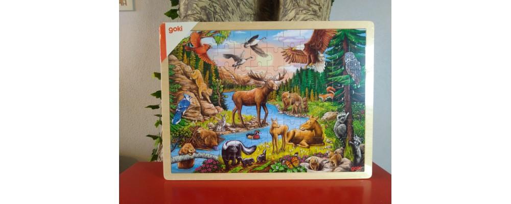 Puzzle de Madeira 96 Peças Animais da América do Norte