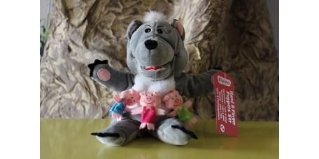 Fantoche Lobo Mau e Dedoches 3 Porquinhos