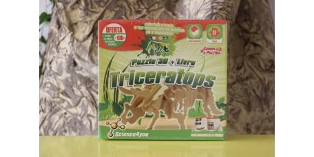 Livro + Puzzle 3D - Triceratops