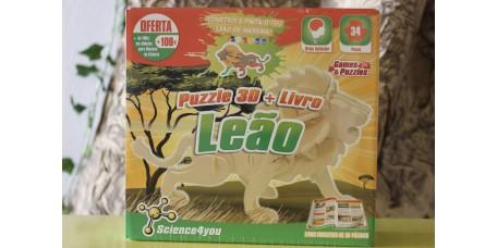 Puzzle 3D + Livro - Leão