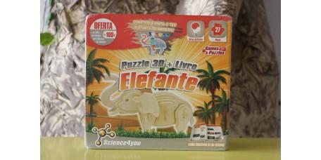 Puzzle 3D + Livro + Elefante